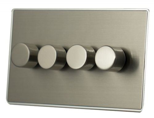 G&H LSS14 Screwless Brushed Steel 4 Gang 1 or 2 Way 40-400W Dimmer Switch